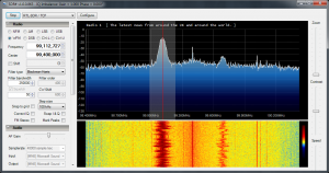 Screenshot of the FM Broadcast band using SDR Sharp