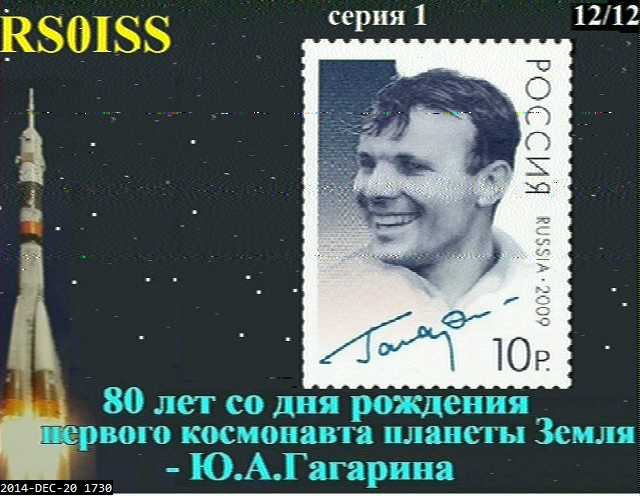 ISS celebrates the 80th anniversary of Yuri Gagarin by sending SSTV (Saturday 20th)